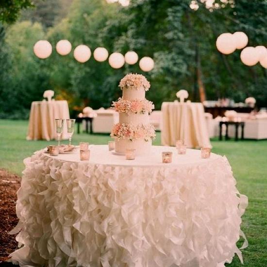 Wedding Cake Table Decor   Ruffled Skirting - crazyforus