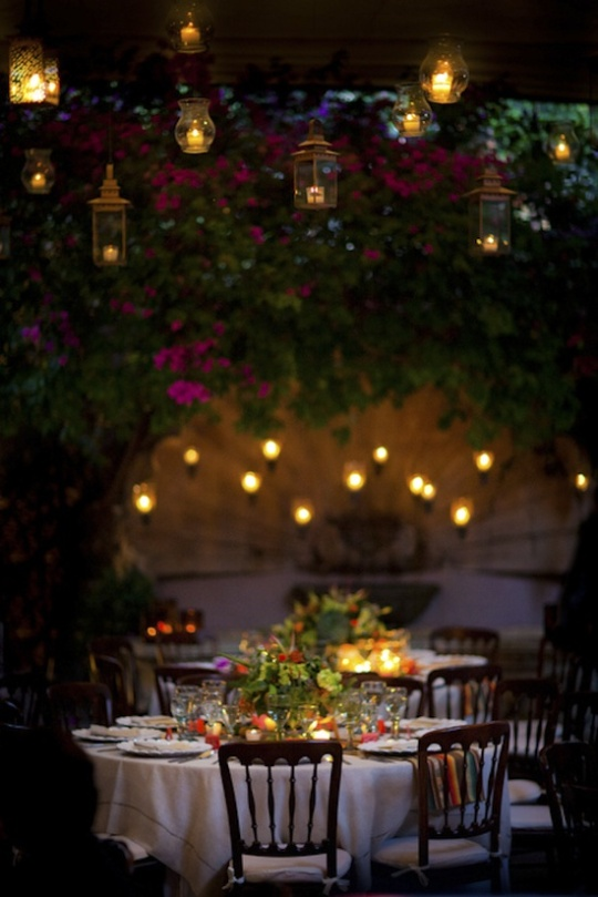 Secret Garden: Outdoor Garden Wedding Reception In Evening
